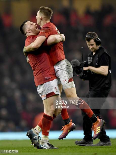 Wales players Rob Evans and Liam Williams celebrate after the Guinness Six Nations match between Wales and England at Principality Stadium on...