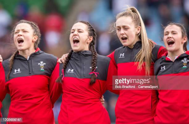 Wales players sing the national anthem during the Women's Six Nations match between England Women and Wales Women at Twickenham Stoop on March 7,...