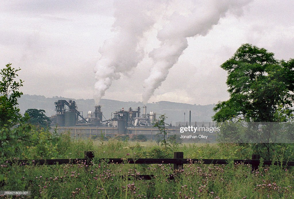 UK, Wales, Port Talbot, steel mill, in rural landscape : Stock Photo