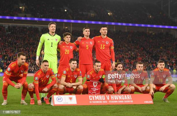 Wales pose for a team photograph ahead of the UEFA Euro 2020 qualifier between Wales and Hungary so at Cardiff City Stadium on November 19, 2019 in...