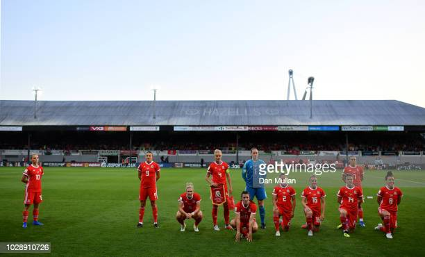 Wales pose for a team picture during the Women's World Cup qualifier between Wales Women and England Women at Rodney Parade on August 31 2018 in...