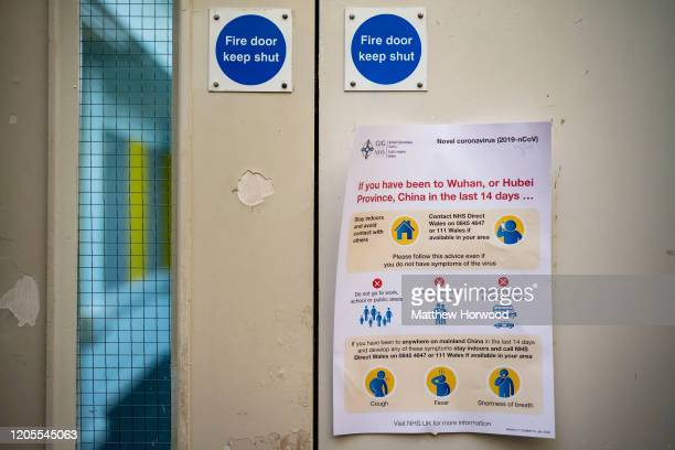 Wales poster warns of the dangers of the coronavirus on February 11, 2020 in Cardiff, United Kingdom. The coronavirus, which is believed to have...