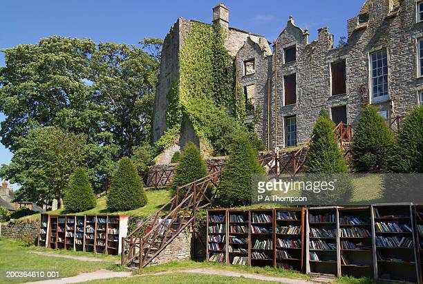 uk, wales, powys, hay-on-wye, hay castle, bookstalls in grounds - literature stock pictures, royalty-free photos & images