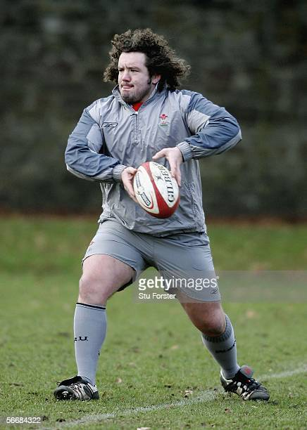 Wales prop Adam Jones rin action during Wales Rugby Union Training on January 27 2006, at Sophia Gardens, Cardiff, Wales.