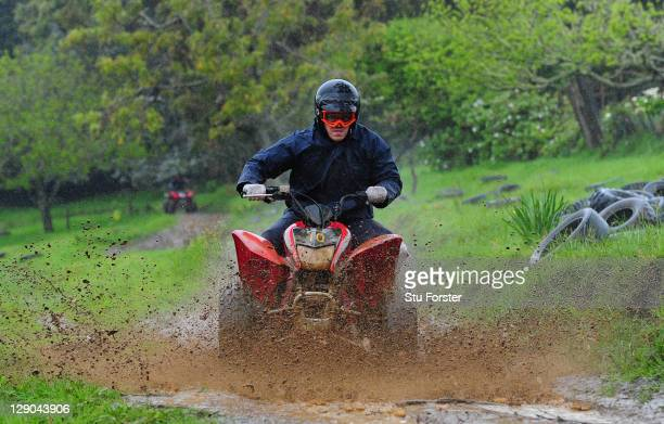 Wales prop Paul James in action as the Wales IRB Rugby World Cup 2011 squad enjoy a 4 track adventure quad biking through Woodhill Forest ahead of...