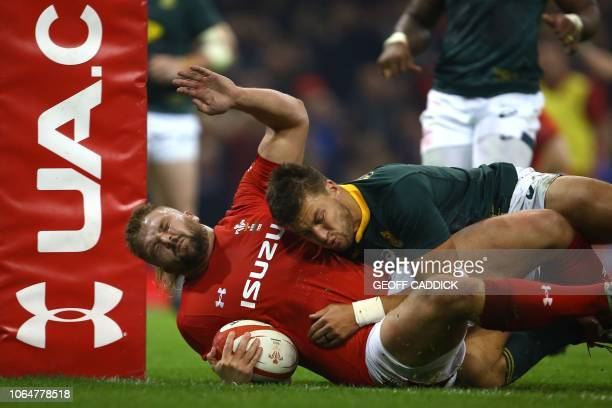 Wales' prop Tomas Francis scores a try during the autumn international rugby union test match between Wales and South Africa at the Principality...