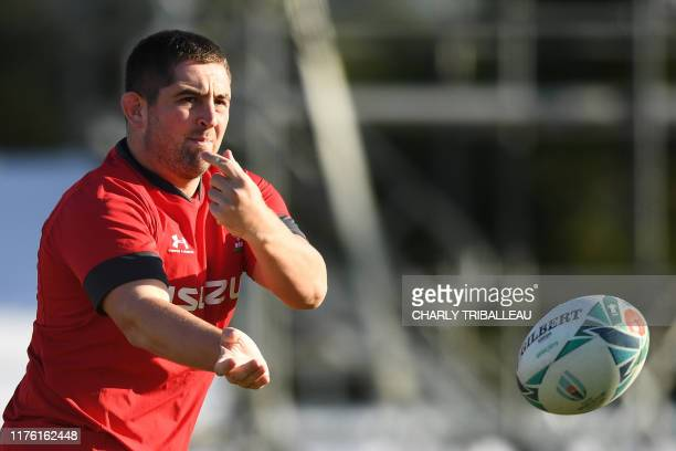 Wales' prop Wyn Jones attends a training session in the Japanese southern city of Beppu on October 16 ahead of their Japan 2019 Rugby World Cup...
