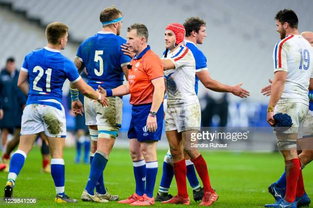 Wales referee Nigel OWENS, Gabin VILLIERE of France during the Autumn Nations Cup match between France and Italy at Stade de France on November 28,...
