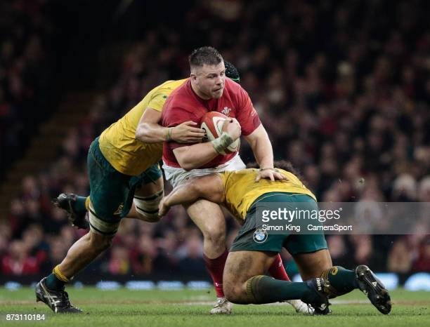 Wales' Rob Evans is tackled by Australia's Tatafu PolotaNau during the 2017 Under Armour Series match between Wales and Australia at Principality...