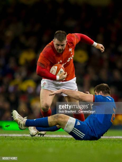 Wales' Rob Evans is tackled by France's Adrien Pelissie during the NatWest Six Nations Championship match between Wales and France at Principality...