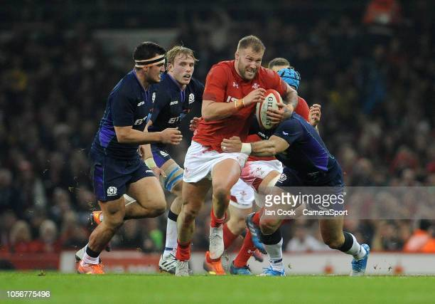 Wales' Ross Moriarty is tackled by Scotland's Alex Dunbar during the International Friendly match between Wales and Scotland on November 3, 2018 in...