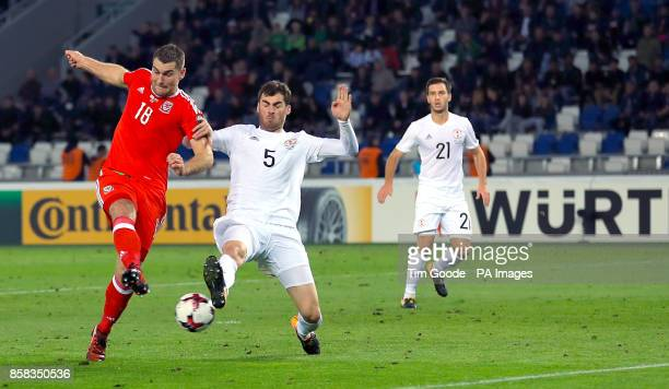 Wales' Sam Vokes has a failed attempt at goal during the 2018 FIFA World Cup Qualifying Group D match at the Boris Paichadze Dinamo Arena Tbilisi