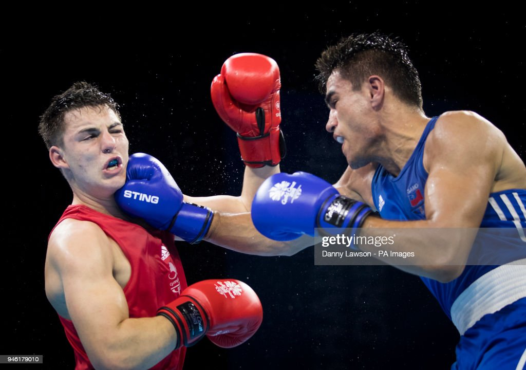 Wales' Sammy Lee (left) and Ato Plodzicki-Faoagali during the Men's Light Heavy (81kg) final at Oxenford Studios during day ten of the 2018 Commonwealth Games in the Gold Co ast, Australia.