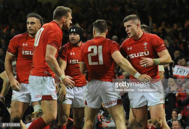Wales' Scott Williams celebrates scoring his sides first try with teammates during the 2017 Under Armour Series Autumn International match between...