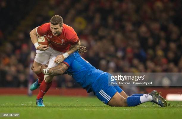 Wales' Scott Williams is tackled by France's Mathieu Bastareaud during the NatWest Six Nations Championship match between Wales and France at...