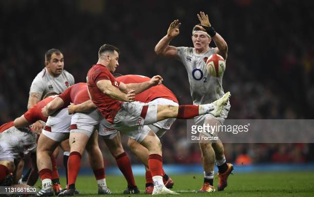 Wales scrum half Gareth Davies in action during the Guinness Six Nations match between Wales and England at Principality Stadium on February 23 2019...
