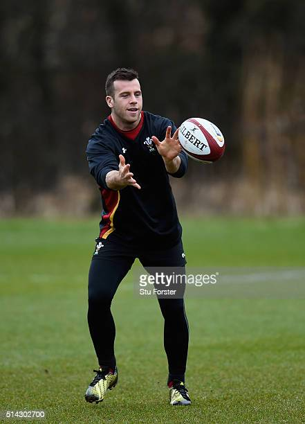 Wales scrum half Gareth Davies in action during Wwales training ahead of their RBS Six Nations match against England, at The Vale Hotel on March 8,...