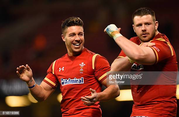 Wales scrum half Rhys Webb and Rob Evans celebrate after the RBS Six Nations match between Wales and Italy at the Principality Stadium on March 19,...
