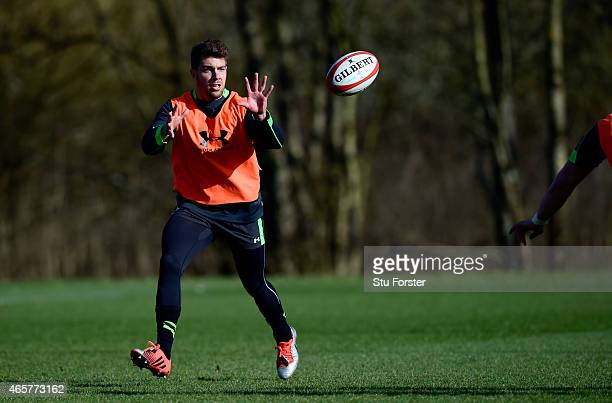Wales scrum half Rhys Webb in action during Wales open training ahead ahead of saturday's RBS Six Nations match against Ireland at the Vale Hotel on...