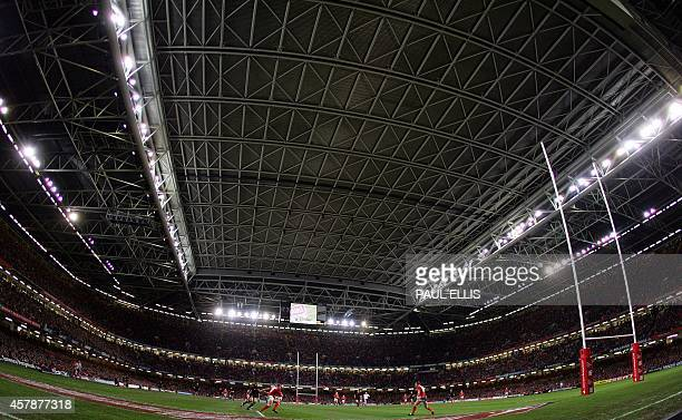 Wales' Shane Wiliams clears his line as they take on New Zealand during the Autumn international test match at The Millennium Stadium in Cardiff 25...