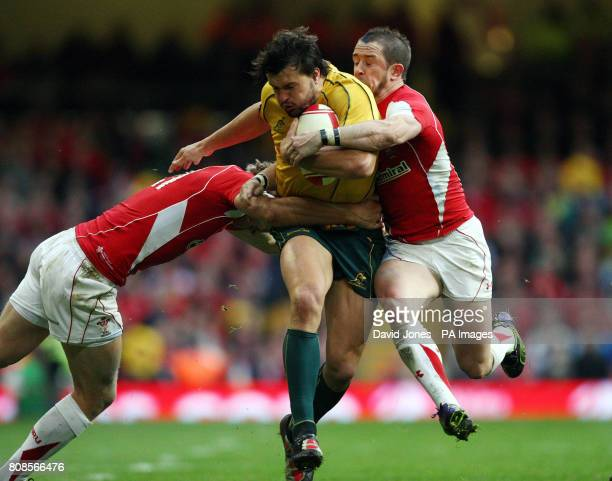 Wales' Shane Williams and Dan Biggar combine to stop Australia's Adam AshleyCooper during the International match at the Millennium Stadium Cardiff