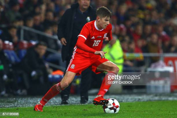 Wales' striker David Brooks controls the ball during the international friendly football match between Wales and Panama at Cardiff City Stadium in...