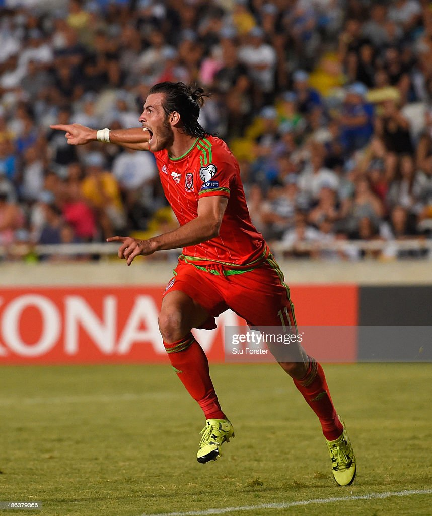 Wales striker Gareth Bale celebrates after scoring the opening goal during the UEFA EURO 2016 Qualifier between Cyprus and Wales at GPS Stadium on September 3, 2015 in Nicosia, Cyprus.