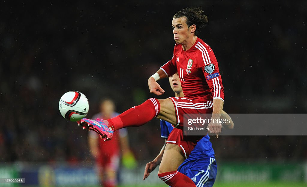 Wales striker Gareth Bale gets in a shot at goal during the EURO 2016 Qualifier match between Wales and Bosnia and Herzegovina at Cardiff City Stadium on October 10, 2014 in Cardiff, Wales.