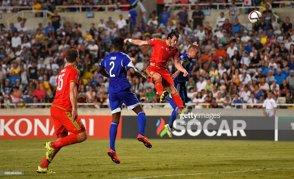 Wales striker Gareth Bale heads the opening goal during the UEFA EURO 2016 Qualifier between Cyprus and Wales at GPS Stadium on September 3, 2015 in Nicosia, Cyprus.