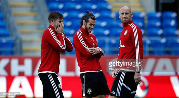 Wales striker Gareth Bale raises a smile with team mates Aaron Ramsey and James Collins during Wales training ahead of their match against Andorra at...