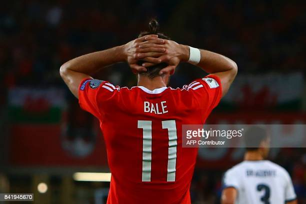 Wales' striker Gareth Bale reacts during the FIFA World Cup 2018 qualification international football match between Wales and Austria in Cardiff...