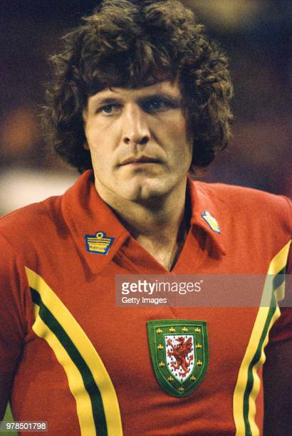 Wales striker John Toshack pictured wearing the classic Wales Admiral home shirt circa 1977