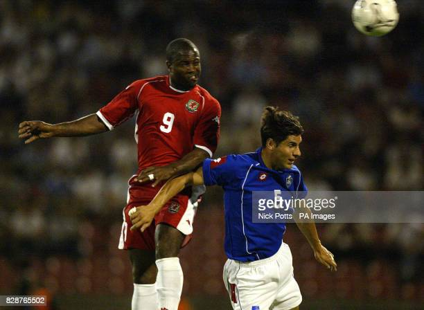 Wales striker Nathan Blake wins a header from Serbia & Montenegro's Dejan Stefanovic during the Euro 2004 Group 9 qualifier at Red Star Stadium in...