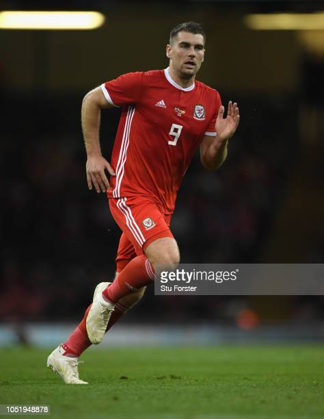 Wales striker Sam Vokes in action during the International Friendly match between Wales and Spain on October 11 2018 in Cardiff United Kingdom