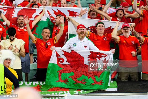 Wales supporters celebrate after winning against Turkey during the UEFA Euro 2020 Championship Group A match between Turkey and Wales on June 16,...