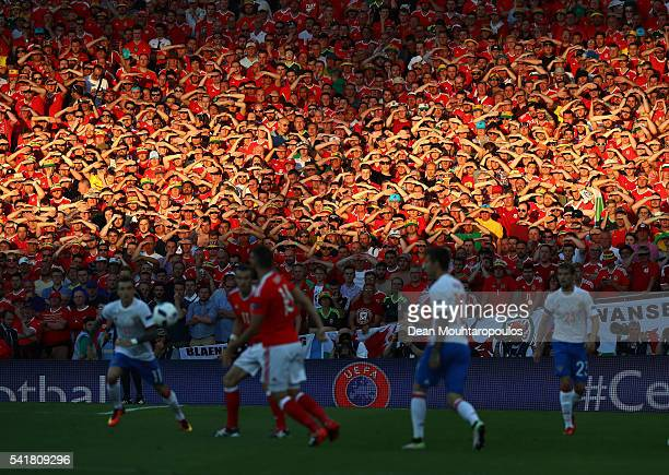 Wales supporters watch the game during the UEFA EURO 2016 Group B match between Russia and Wales at Stadium Municipal on June 20 2016 in Toulouse...