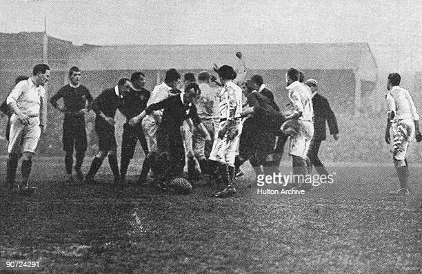 Wales take advantage of a fine opening during the Home Nations rugby international against England at Leicester 9th January 1904 The match resulted...