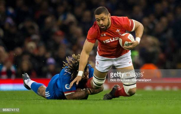 Wales' Taulupe Faletau is tackled by France's Mathieu Bastareaud during the NatWest Six Nations Championship match between Wales and France at...