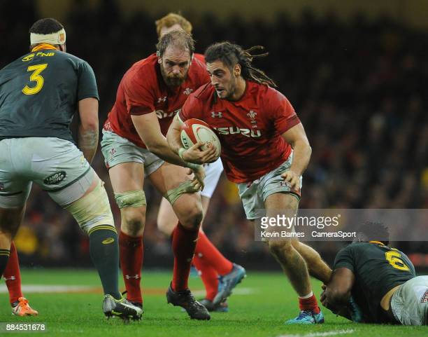 Wales' Taulupe Faletau is tackled by South Africa's Malcolm Marx during the 2017 Under Armour Series Autumn International match between Wales and...