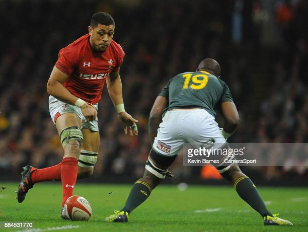 Wales' Taulupe Faletau kicks through during the 2017 Under Armour Series Autumn International match between Wales and South Africa at Principality...