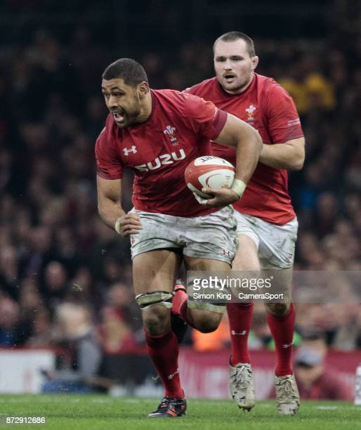 Wales' Taulupe Faletau makes a break during the 2017 Under Armour Series match between Wales and Australia at Principality Stadium on November 11...