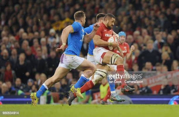 Wales Taulupe Faletau makes a break during the NatWest Six Nations Championship match between Wales and Italy at Principality Stadium on March 11...