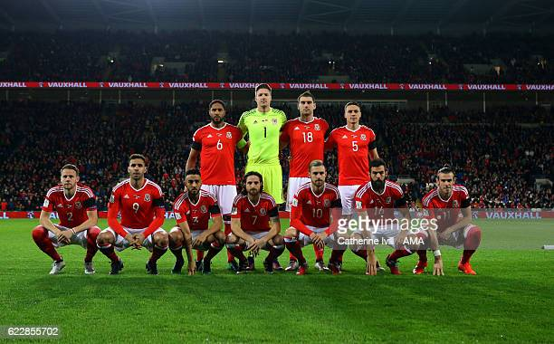 Wales team group photo before the FIFA 2018 World Cup Qualifier between Wales and Serbia at Cardiff City Stadium on November 12 2016 in Cardiff Wales