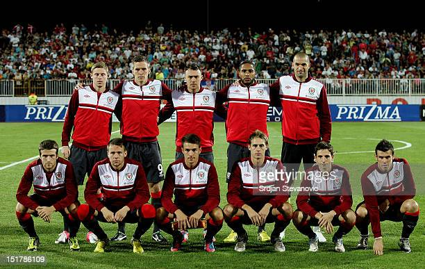 Wales team players line up for a team photograph prior the FIFA 2014 World Cup Qualifier at stadium Karadjordje Park between Scerbia and Wales on...