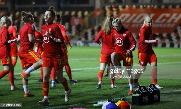 Wales team players warm up ahead of the UEFA Women's EURO 2022 Qualifier between Wales Women and Belarus Women at Rodney Parade on December 01, 2020...