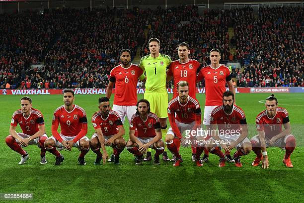 Wales team Wales's defender Ashley Williams Wales's goalkeeper Wayne Hennessey Wales's striker Sam Vokes and Wales's defender James Chester Wales's...