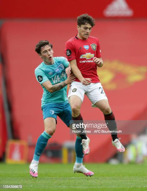 Wales team-mates Harry Wilson of Bournemouth and Daniel James of Manchester United during the Premier League match between Manchester United and AFC...
