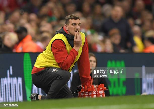 Wales Technical Advisor for Defence/Breakdown, Sam Warburton looks on during the 2020 Guinness Six Nations match between Wales and Italy at...