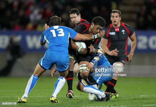 Wales' Toby Faletau is tackled by Namibia's Piet Van Zyl