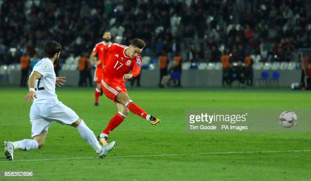 Wales' Tom Lawrence celebrates scoring his side's first goal of the game during the 2018 FIFA World Cup Qualifying Group D match at the Boris...